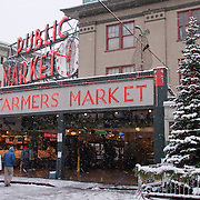 Pike Place Market during winter snow storm, Seattle, Washington