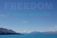 """FREEDOM"" is the title of this art photograph of Mount Aoraki (Mount Cook) and Lake Pukaki, it is part of the FREEDOM exhibition at AOTUROA Photo Art Gallery 17 November 2013 to 09 March 2014, it also is printed in the month of June in the NZ FREEDOM Calendar 2014, and is #6 of the 14 photographs of the FREEDOM series, which also is printed with the text ""FREEDOM"" on greeting cards"