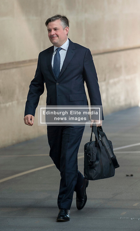 Leicester South's Labour MP and shadow Health & Social Care Secretary, Jonathan Ashworth arriving at the BBC in London before appearing on the Andrew Marr show. <br /> <br /> Richard Hancox | EEm 12052019