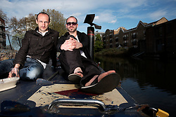 UK ENGLAND LONDON 30APR16 - London Canal boat resident Duncan Stevens with Jakob Horstmann (L) on his boat near Haggerston, east London.<br /> <br /> jre/Photo by Jiri Rezac<br /> <br /> © Jiri Rezac 2016