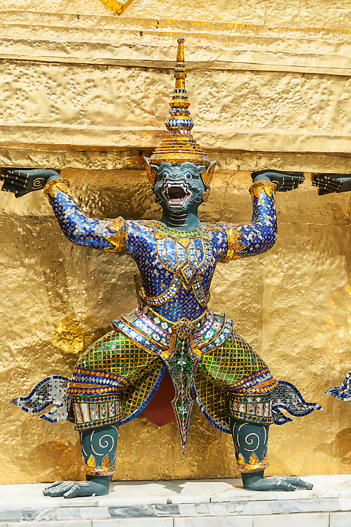 Bangkok, Grand Palace, The Green Demon Guards statues.