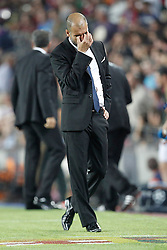 Barcelona's Josep Guardiola reacts during Champions League match on september 13th 2011.