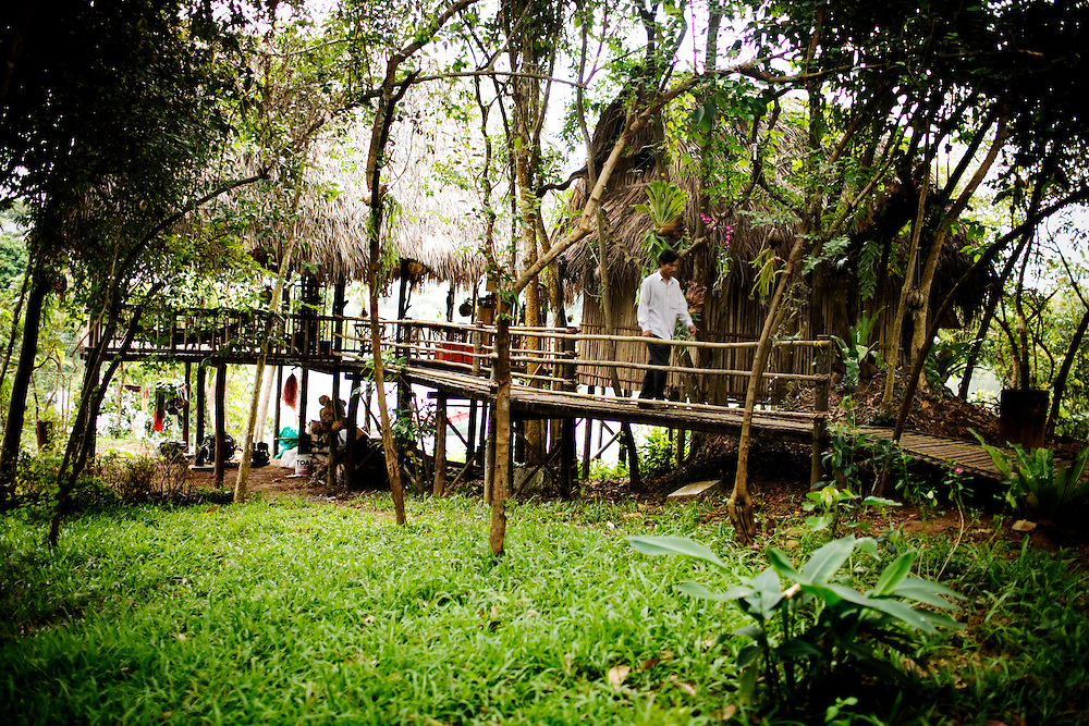 The Sothourn Ecolodge has five thatched roof bamboo huts in the community-based ecotourism village of Chi Phat, located on the Preak Piphot River, in the Southern Cardomom Protected Forest, Koh Kong Province, Cambodia, on Thursday, Dec. 3, 2010.