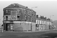 Boarded up shops on Attercliffe Road, Sheffield.