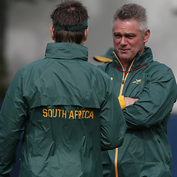 EASTBOURNE, ENGLAND - SEPTEMBER 14: Heyneke Meyer (Head Coach) of South Africa during the 2015 Rugby Wolrd Cup Springboks training session at Eastbourne College on September 14, 2015 in Eastbourne, England. ((Photo by Steve Haag Emirates)
