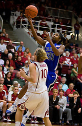 December 15, 2009; Stanford, CA, USA;  Duke Blue Devils guard/forward Keturah Jackson (31) shoots over Stanford Cardinal guard JJ Hones (10) during the first half at Maples Pavilion.
