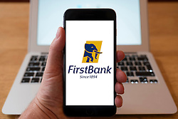 Using iPhone smart phone to display website logo of First Bank of Nigeria