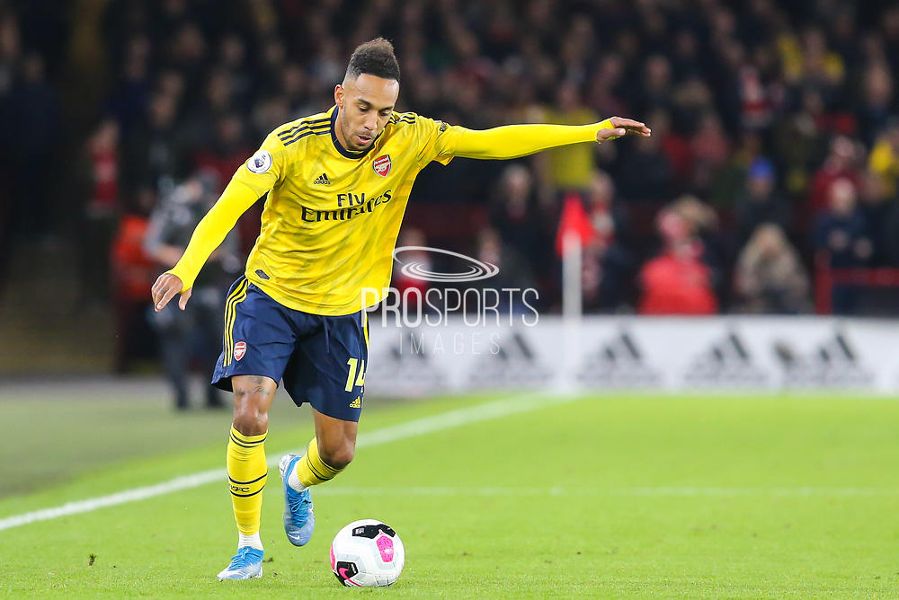 Arsenal forward Pierre-Emerick Aubameyang (14) during the Premier League match between Sheffield United and Arsenal at Bramall Lane, Sheffield, England on 21 October 2019.