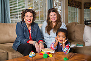 Julie Mitchell with Kim Perkins and Elijah Mitchell, 22 months, in Little Rock, Arkansas. Photo by Beth Hall