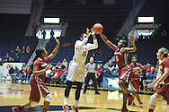 """Mississippi Lady Rebels forward Kelsey Briggs (15) vs. Alabama Crimson Tide guard Breanna Hayden (5) at the C.M. """"Tad"""" Smith Coliseum in Oxford, Miss. on Sunday, January 11, 2015. (AP Photo/Oxford Eagle, Bruce Newman)"""