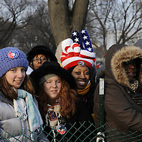 Angela Muirire of Seattle,Washington wears a red white and blue hat at the reflecting pool of the U.S. Capital for the swearing in of Barack Obama as the 44th President of the United States of America during his Inauguration Ceremony on Capitol Hill in Washington on January 20, 2009.   (Mark Goldman/ Goldmine Photos)