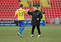 Bristol Rovers' Andy Monkhouse and Bristol Rovers' Matty Taylor - Photo mandatory by-line: Neil Brookman/JMP - Mobile: 07966 386802 - 28/02/2015 - SPORT - Football - Gateshead - Gateshead International Stadium - Gateshead v Bristol Rovers - Vanarama Football Conference