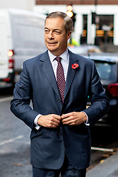 © Licensed to London News Pictures. 04/11/2019. London, UK. Brexit Party leader Nigel Farage arrives at the Emmanuel Centre before he introduces 600 Prospective Parliamentary Candidates (PPC) standing for the Brexit Party ahead of the upcoming General Election. Photo credit : Tom Nicholson/LNP