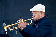 A trumpet player at the Chicago Jazz festival