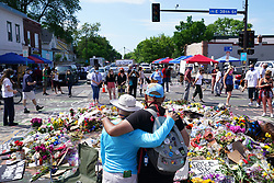 The memorial at the site of George Floyd's death, Thursday, June 4, 2020, in Minneapolis. Photo by Anthony Souffle/Minneapolis Star Tribune/TNS/ABACAPRESS.COM