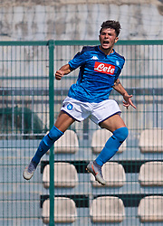 NAPLES, ITALY - Tuesday, September 17, 2019: SSC Napoli's Andrea Mancino celebrates scoring the first goal during the UEFA Youth League Group E match between SSC Napoli and Liverpool FC at Stadio Comunale di Frattamaggiore. (Pic by David Rawcliffe/Propaganda)
