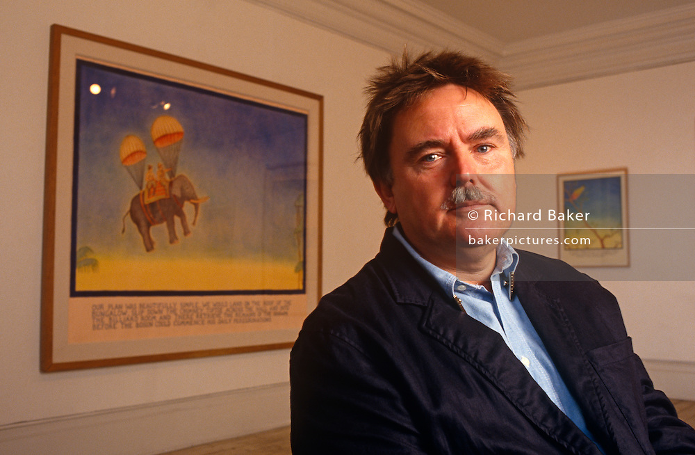 "Glen Baxter, nicknamed ""Colonel Baxter,"" is an English cartoonist, noted for his surrealist, absurdist drawings. He is seen in a portrait situation before the opening of an exhibition of his work at the the Eagle in Clerkenwell, London. Born in Leeds in 1944, Baxter was trained at the Leeds College of Art. His images, and their corresponding captions, fuse art and language inspired by pulp fiction and adventure comics with intellectual jokes and references. Baxter's art has been collected in numerous books, and his work has appeared in The New Yorker, Vanity Fair, and The Independent on Sunday. His simple line-drawings often feature cowboys, gangsters, explorers, and schoolchildren, who utter incongruous intellectual statements regarding art and philosophy."