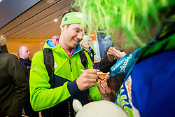 Zan Kosir with fans during Arrival of Zan Kosir, Bronze medalist at Olympic Games in Pyeongchang 2018, on February 26, 2018 in Aerodrom Ljubljana, Letalisce Jozeta Pucnika, Kranj, Slovenia. Photo by Ziga Zupan / Sportida