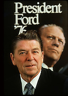"""Candidate Ronald Reagan posing in front of the President Ford campaign poster in  March 1976.  Actually I made both images in this photograph.  I was commissioned to do the prints ads and brochures for President Ford--David Hume Kennerly thought that they should not use official White House  pictures for the election ads (times change) so they hired me.  The President Ford poster was one of the major symbols of the Ford campaign.  A few days before the New Hampshire primary I convinced Mike Deaver and Lyn Nofzinger to have Reagan pose in front of this poster as a cover for TIME if he won the New Hampshire primary...I knew that the famous photographer, Richard Avedon, had photographed Reagan the day before.  Avedon was doing a series of portraits of the presidential candidates for ROLLING STONE using the 8x10 format.  His style was to stand the subject on a seamless background and just wait and then take what Avedon called the most truthful image of the candidate--others called it the ugliest portrait...While I was photographing Reagan, I said """"Boy, yesterday you had a very famous photographer taking your portrait""""  Reagan replied, """"Oh, that fellow,   he wasn't a very good photographer"""".  Reagan was used to Hollywood, news, and fashion photographers who would take a picture and Reagan would react for the next pose--Avedon just stood there, did not say anything, and didn't take a picture.  Reagan could not understand this.  Sure enough, the photograph by Avedon in the ROLLING STONE  article was not flattering...Oh, Reagan lost the New Hampshire primary to President Ford and this image was never the cover of TIME...Photograph by Dennis Brack bb 27"""