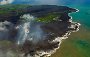 Most of the Kapoho area is now covered in fresh lava as the Kilauea Volcano lower east rift zone eruption continues on Wednesday, June 6, 2018, in Hawaii. Photo by L.E. Baskow/LeftEyeImages