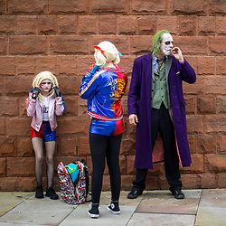 © Licensed to London News Pictures . 30/07/2017 . Manchester , UK . The Joker takes a cigarette break . Cosplayers, families and guests at Comic Con at the Manchester Central Convention Centre . Photo credit : Joel Goodman/LNP