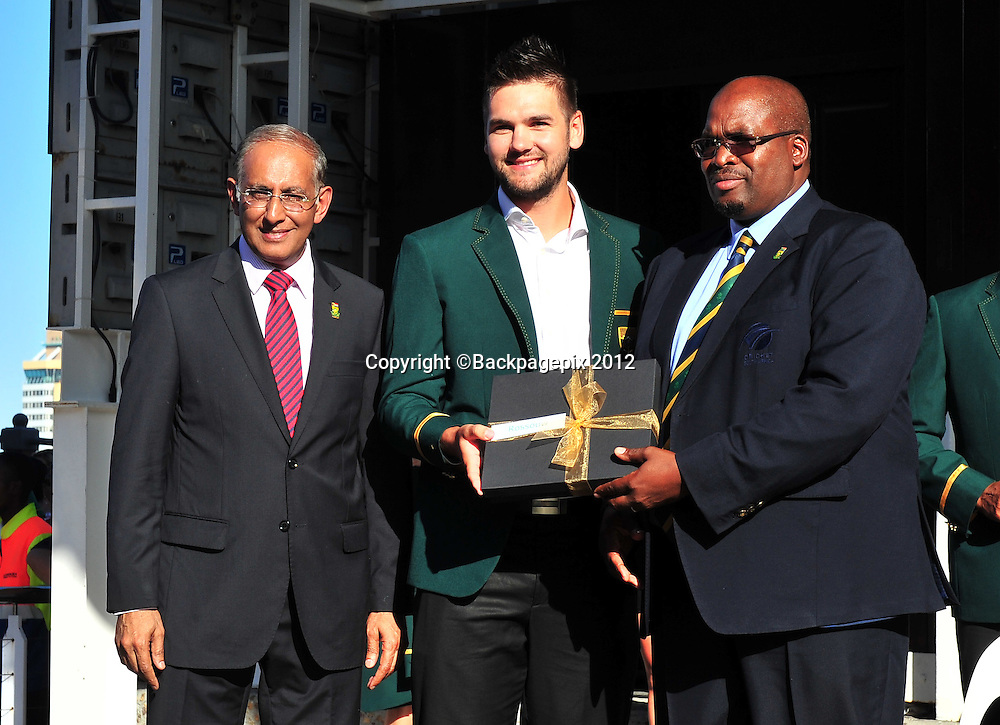 Haroon Lorgat (Cricket South Africa CEO), Rilee Rossouw and Chris Nenzani (President of Cricket South Africa) during the 2015 Cricket World Cup Protea squad announcement  at the V&A Waterfront, Cape Town on 7 January 2015 ©Ryan Wilkisky/BackpagePix