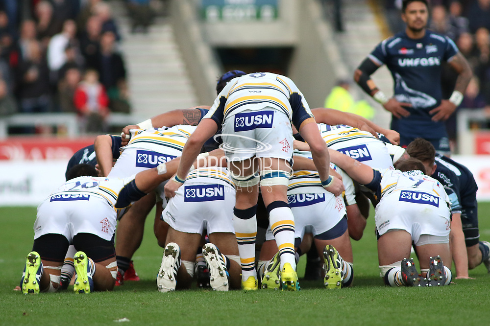 GJ Van Velze (Capt) Worcester Warriors and his scrum during the Gallagher Premiership Rugby match between Sale Sharks and Worcester Warriors at the AJ Bell Stadium, Eccles, United Kingdom on 9 September 2018.