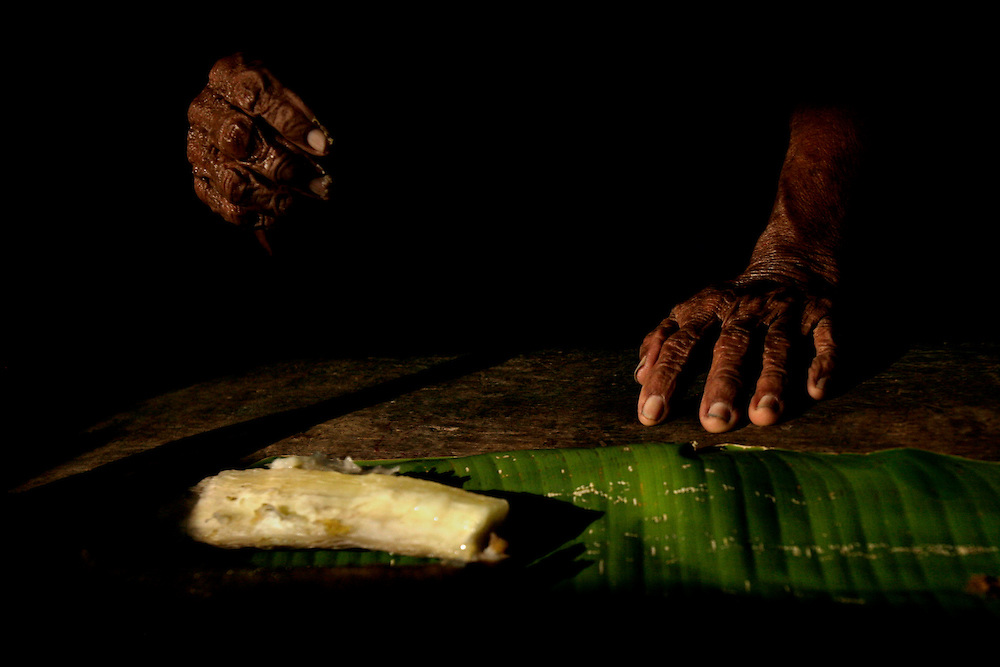 "A woman serves up Yuca, a root eaten by the Kichwa people, both in drink form or cooked. The drink is called ""chicha,"" a beverage offered at all times of the day.  To not accept it when offered is an insult to Kichwas.  When you first enter their house, chicha is like a strong handshake.  It  is a covenant, allowing  strangers to build a trusting friendship."