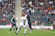 Southend United striker  Nile Ranger (50) heads the ball during the EFL Sky Bet League 1 match between Milton Keynes Dons and Southend United at stadium:mk, Milton Keynes, England on 22 October 2016. Photo by Dennis Goodwin.