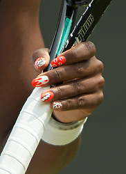 27.06.2013, Wimbledon, London, ENG, WTA Tour, The Championships Wimbledon, Tag 4, im Bild The colourful fingernails of Serena Williams (USA) during the Ladies' Singles 2nd Round match on day four of the WTA Tour Wimbledon Lawn Tennis Championships at the All England Lawn Tennis and Croquet Club, London, Great Britain on 2013/06/27. EXPA Pictures © 2013, PhotoCredit: EXPA/ Propagandaphoto/ David Rawcliffe<br /> <br /> ***** ATTENTION - OUT OF ENG, GBR, UK *****