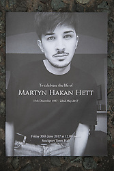 © Licensed to London News Pictures . 30/06/2017 . Stockport , UK . The order of service . The funeral of Martyn Hett at Stockport Town Hall . Martyn Hett was 29 years old when he was one of 22 people killed on 22 May 2017 in a murderous terrorist bombing committed by Salman Abedi, after an Ariana Grande concert at the Manchester Arena . Photo credit : Joel Goodman/LNP