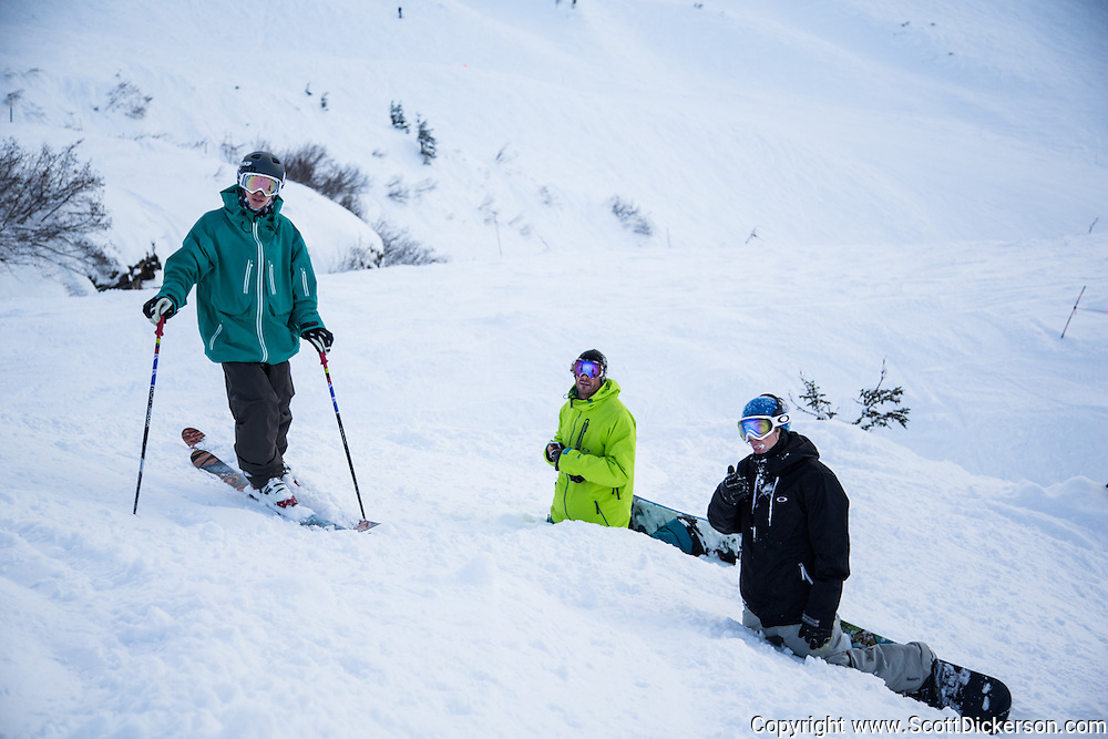 Luke Tanaka, Chad Aurentz, and Nathan Ellis skiing and snowboarding at Alyeska Resort in Girdwood, Alaska.