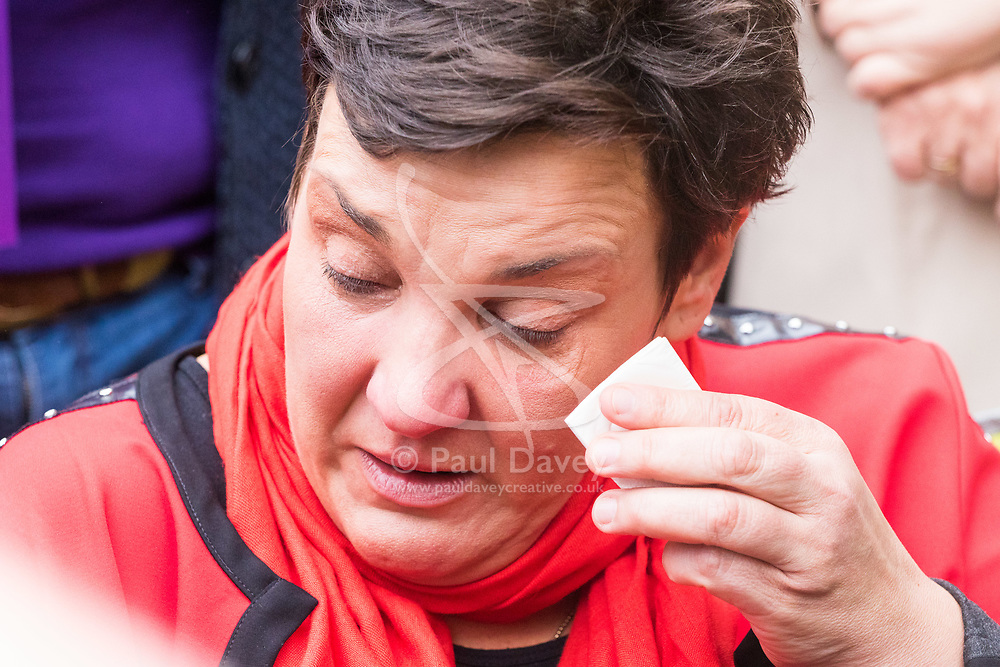 London, October 10 2017. PICTURED Antonia Antoniazzi MP is overcome with emotion as she hears about the struggle of MS sufferer Clark French as he addressed the gathering. Medical cannabis users from the United Patients Alliance gather at Old Palace Yard with Paul Flynn MP, demanding the decriminalisation of cannabis which they say has proven to be the most successful aid to pain relief, demanding that MPs respect the scientifically proven benefits of THC (tetrahydrocannabinol). © Paul Davey