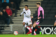 MK Dons forward Rob Hall  during the The FA Cup Third Round Replay match between Milton Keynes Dons and Northampton Town at stadium:mk, Milton Keynes, England on 19 January 2016. Photo by Dennis Goodwin.