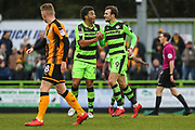 Forest Green Rovers Reuben Reid(26) congratulates Forest Green Rovers Christian Doidge(9) on his goal during the EFL Sky Bet League 2 match between Forest Green Rovers and Cambridge United at the New Lawn, Forest Green, United Kingdom on 20 January 2018. Photo by Shane Healey.