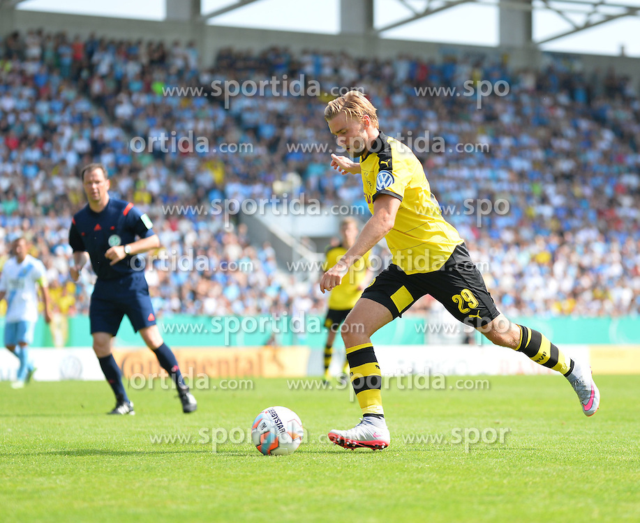 09.08.2015, Stadion an der Gellertstra&szlig;e, Chemnitz, GER, DFB Pokal, Chemnitzer FC vs Borussia Dortmund, im Bild Marcel Schmelzer (Borussia Dortmund) // during German DFB Pokal first round match between Chemnitzer FC and Borussia Dortmund at the Stadion an der Gellertstra&szlig;e in Chemnitz, Germany on 2015/08/09. EXPA Pictures &copy; 2015, PhotoCredit: EXPA/ Eibner-Pressefoto/ Harzer<br /> <br /> *****ATTENTION - OUT of GER*****