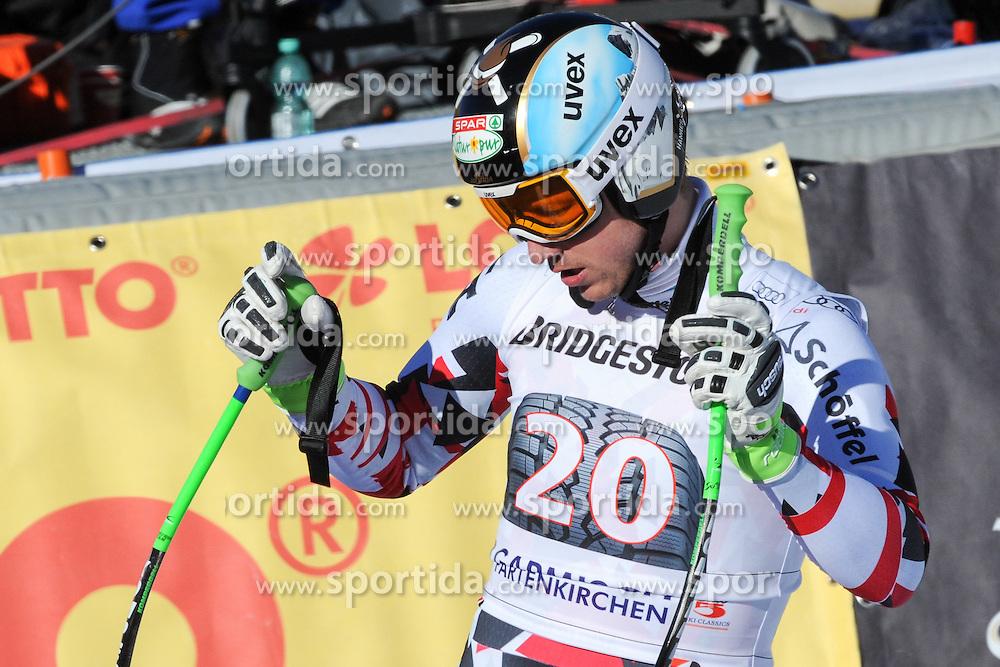 30.01.2016, Kandahar, Garmisch Partenkirchen, GER, FIS Weltcup Ski Alpin, Garmisch Partenkirchen, Abfahrt, Herren, im Bild Hannes Reichelt (AUT) // Hannes Reichelt of Austria reacts after his run of the men's Downhill of Garmisch FIS Ski Alpine World Cup at the Kandahar in Garmisch Partenkirchen, Germany on 2016/01/30. EXPA Pictures © 2016, PhotoCredit: EXPA/ Erich Spiess
