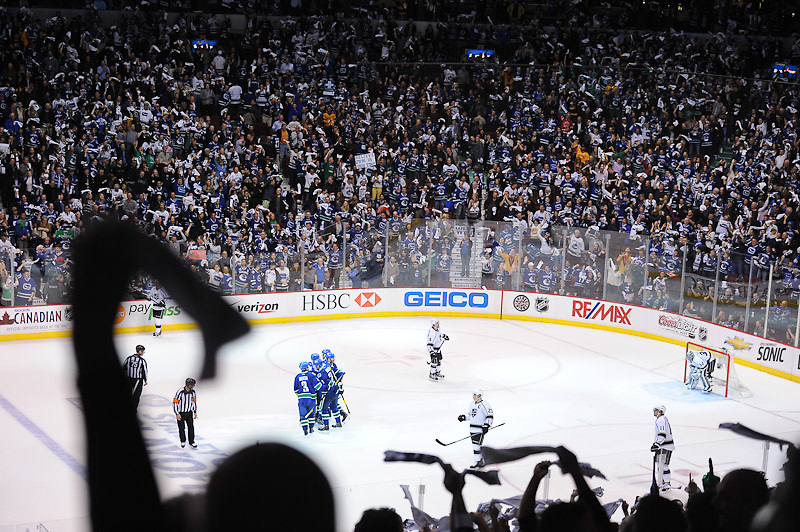 VANCOUVER, CANADA - APRIL 11: of the Vancouver Canucks of the Los Angeles Kings in Game One of the Western Conference Quarterfinals during the 2012 NHL Stanley Cup Playoffs at Rogers Arena on April, 11, 2012 in Vancouver, British Columbia, Canada. (Photo by Derek Leung/Getty Images) *** LOCAL CAPTION *** playername