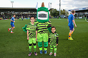 Mascots with Green Devil during the EFL Sky Bet League 2 match between Forest Green Rovers and Mansfield Town at the New Lawn, Forest Green, United Kingdom on 19 October 2019.