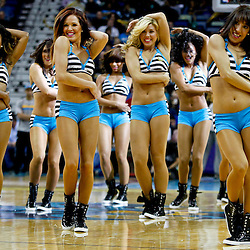 November 7, 2012; New Orleans, LA, USA; New Orleans Hornets Honeybees perform during the second half of a game against the Philadelphia 76ers at the New Orleans Arena. The 76ers defeated the Hornets 77-62. Mandatory Credit: Derick E. Hingle-US PRESSWIRE