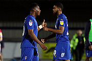 AFC Wimbledon defender Paul Kalambayi (30) giving thumbs up to AFC Wimbledon striker Jake Jervis (10) during the EFL Trophy group stage match between AFC Wimbledon and Stevenage at the Cherry Red Records Stadium, Kingston, England on 6 November 2018.