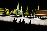 Crowds gather outside of the Grand Palace, where King Bhumibol's body was taken after the funeral procession on the evening of October 14, 2016 in Bangkok, Thailand. Thailand's King Bhumibol Adulyadej, the world's longest-reigning monarch, died at the age of 88 in Bangkok's Siriraj Hospital after his 70-year reign.