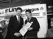 10/01/1986.01/10/1986.10th January 1986.The Aer Lingus Young Scientist of the Year Exhibition at the RDS, Dublin...Picture shows An Tanaiste, Dick Spring, T.D. Minister for Energy presenting the Runner-Up Individual Prize to Shane Donovan of Douglas Community School, Ballinlough, Cork. His project was entitled 'The Quality of the Water in the Aquifers of the Cork Region with Reference to Industrial Development.'...