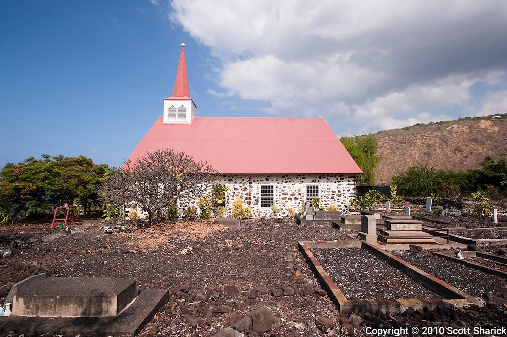 A stone church on the Big Island of Hawaii.