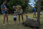 Tourists feed Aldabra Giant Tortoises, a main attraction on the island of Curieuse, Seychelles on February 20, 2018. Tourism is one of the country's main income generators.<br /> <br /> The government of Seychelles has created 81,000 square miles of Marine Protected Areas as part of a conservation debt swap deal in an effort to shield marine ecosystems from unsustainable development and climate change while safeguarding its economy.