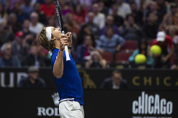 September 22, 2018 - Chicago, Illinois, U.S - Team Europe member ALEXANDER ZVEREV of Germany celebrates winning match point the first singles match between Team Europe and Team World on Day Two of the Laver Cup at the United Center in Chicago, Illinois. (Credit Image: © Shelley Lipton/ZUMA Wire)