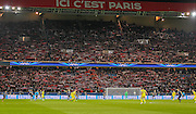 PSG fans behind the goal during the Champions League match between Paris Saint-Germain and Chelsea at Parc des Princes, Paris, France on 17 February 2015. Photo by Phil Duncan.