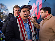 10 DECEMBER 2019 - DES MOINES, IOWA: ANDREW YANG walks to his bus parked at the Iowa State Capitol before the start of his bus tour. Yang, an entrepreneur, is running for the Democratic nomination for the US Presidency in 2020. He kicked off a five day bus tour today at the Iowa State Capitol in Des Moines. Iowa hosts the the first election event of the presidential election cycle. The Iowa Caucuses will be on Feb. 3, 2020.        PHOTO BY JACK KURTZ