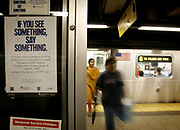 "The Department of Homeland Security warned Sunday of possible terrorist attacks against ""iconic"" financial institutions in New York City, Washington and Newark, N.J. The New York Stock Exchange (NYSE) and the World Headquarters of Citigroup are among the potential targets.<br /> <br /> A sign at the City Hall Subway station, asking travellers to be vigilant."