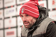 Paul Warne (Interim Manager) (Rotherham United) talks during the press conference after the EFL Sky Bet Championship match between Rotherham United and Blackburn Rovers at the AESSEAL New York Stadium, Rotherham, England on 11 February 2017. Photo by Mark P Doherty.